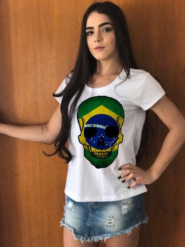 blusas baby look caveira brasil copa do mundo feminina