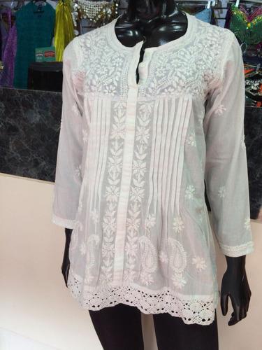 blusas blanca bordada de la india