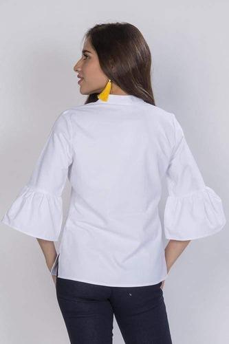 blusas camisas dama blanca bordadas casuales moda n81148