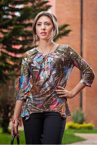 blusas dama estampada con brillo linda ropa mujer