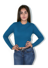 15cdb5107373 Blusa Negra De Manga Larga - Blusas de Mujer Azul en Mercado Libre ...