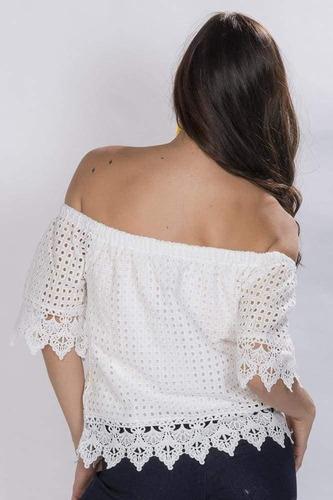 blusas dama sin hombros blanca encaje casuales moda n81213