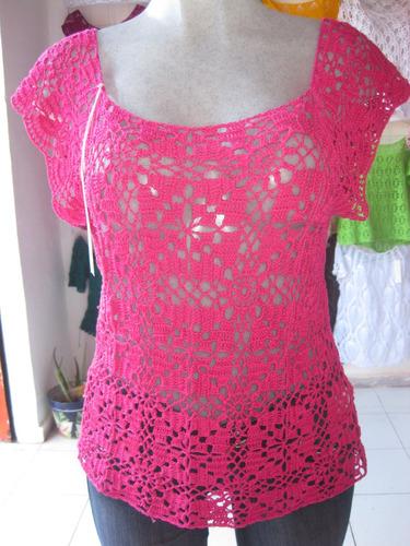 blusas de algodón tejidas a mano en varios colores y modelos