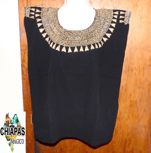 blusas de chiapas bordadas a mano / talla med / negras/ m007