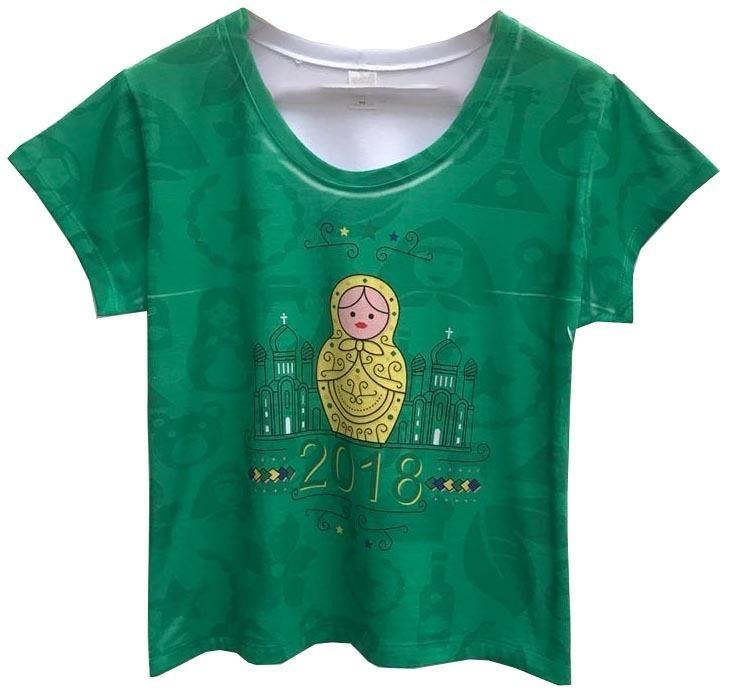 Blusas Femininas Baby Look Branca Brasil Matrioska T Shirts - R  55 ... 6dc24de9907ce