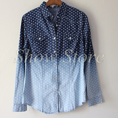 blusas femininas camisa jeans degradê pronta entrega 2773