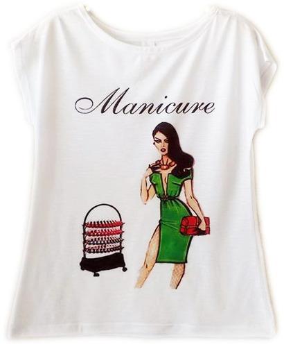 blusas femininas camisetas flamê manga japonesa maquiadora