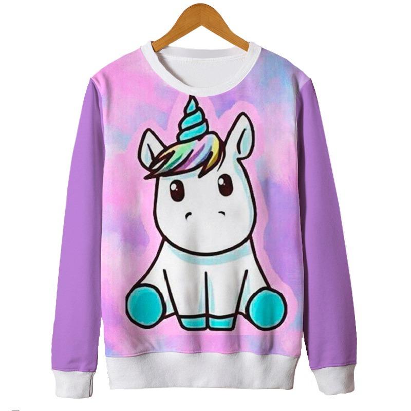 Blusas Femininas Moletom Roupa Unicornio Cute Fofo Tumblr Mt R