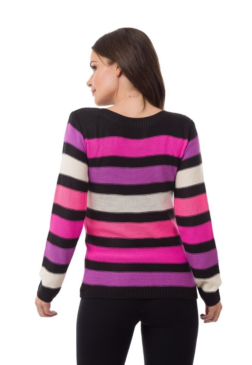 Blusas Femininas Tricot Crochê Estampa Listrada Moda Inverno - R  104 cb54f4ee6a741