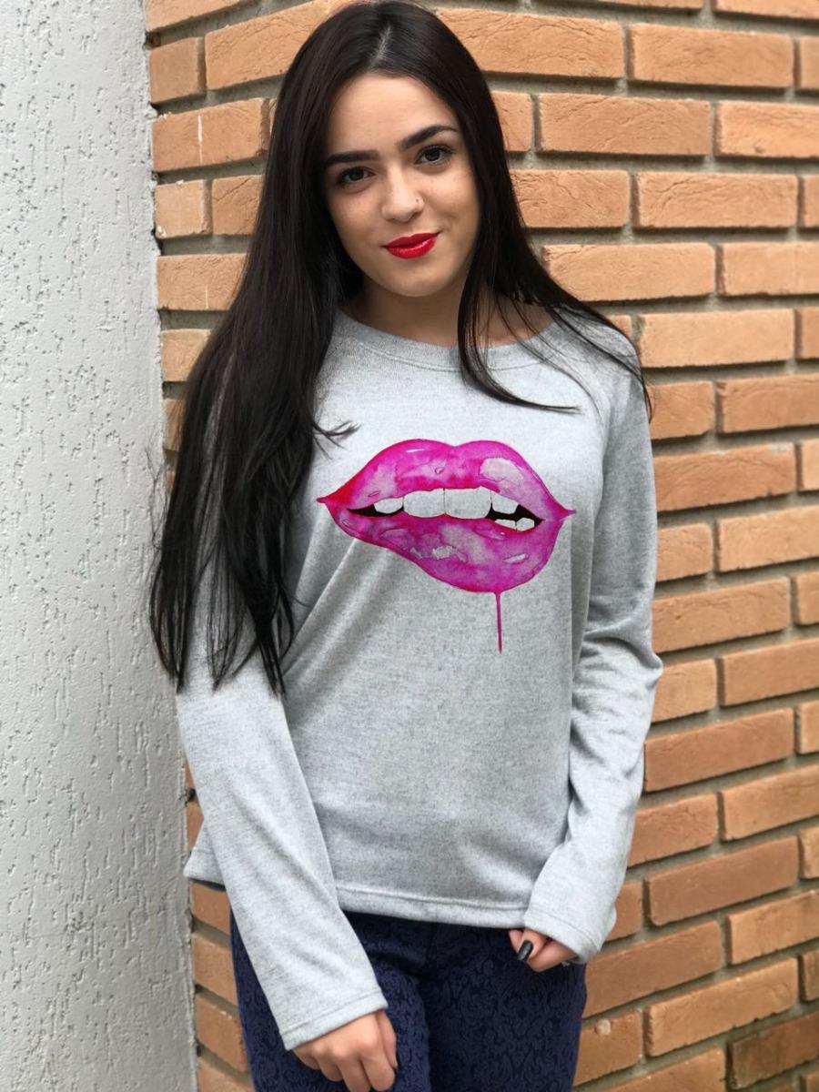 b68438ced6 blusas frio manga longa feminina boca rosa tricozinho cinza. Carregando zoom .