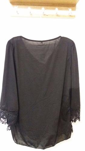 blusas manga 3/4 colores y encaje