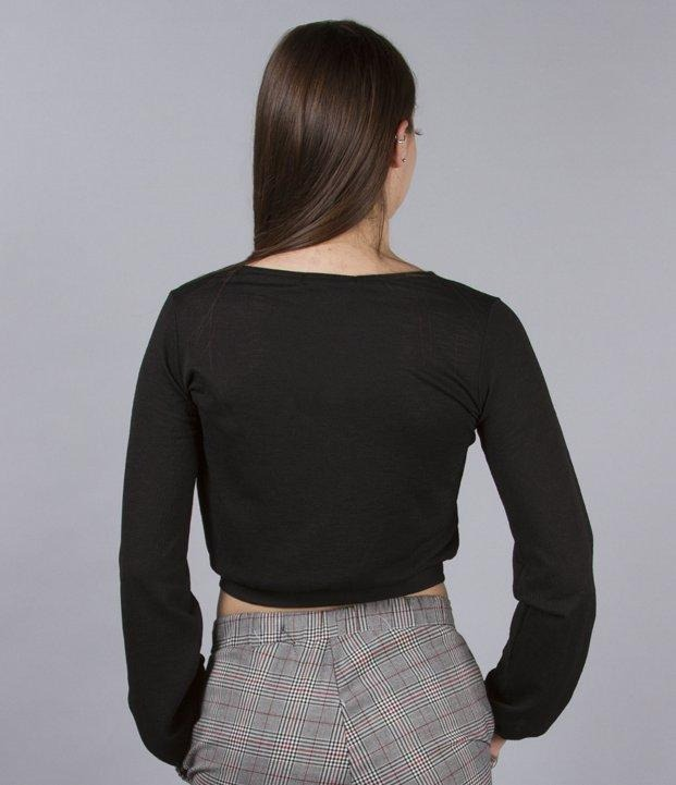 d7d2f833eb79f Blusas Dama Camisas Manga Larga Negra Escote Mujer Hot Sale ...