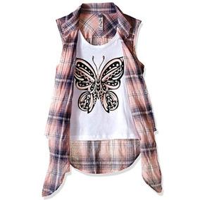 433979748ff05 Blusa Camisa Cuadros Niña Adolescente Talla 10 12 Importada