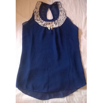 Blusa Azul Con Encaje Blanco