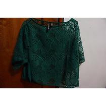 Blusa Polo Mng Calado Tipo Crochet