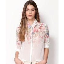 Blusa De Gasa Floral Tallas S Y M Nueva Importada En Stock