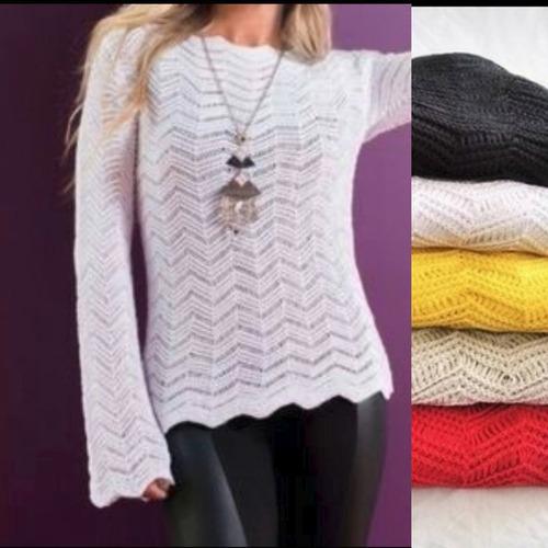 blusas roupas femininas em trico crochê renda longa mullet