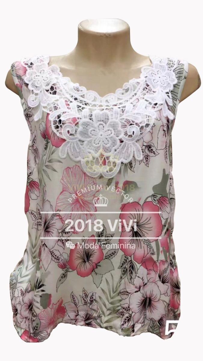 ffb39591e7 blusas viscose femininas regata florida renda kit c 15 peças. Carregando  zoom.