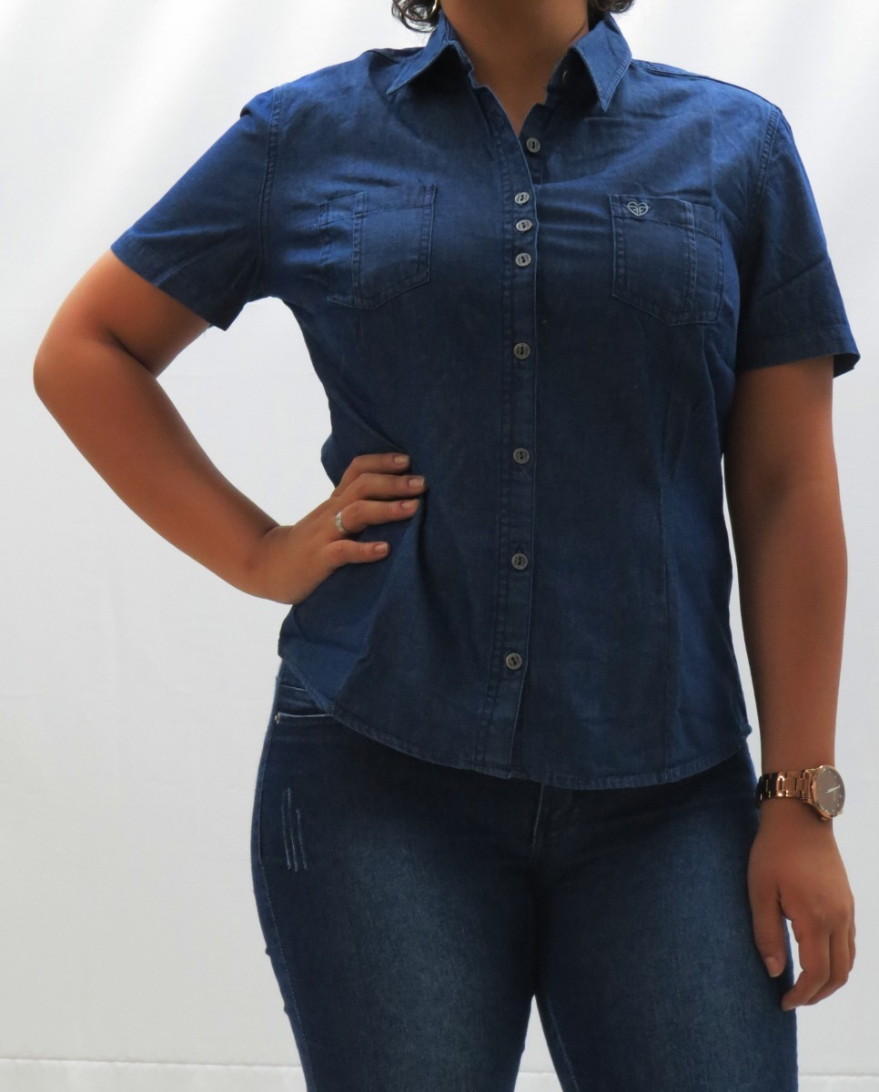 73d8615399 Blusinha Camisa Jeans Feminina Manga Curta 3/4 - R$ 69,90 em Mercado ...