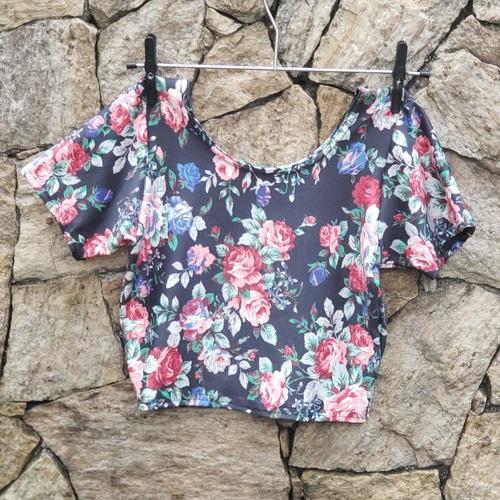 blusinha cropped manga curta roupas femininas blusa