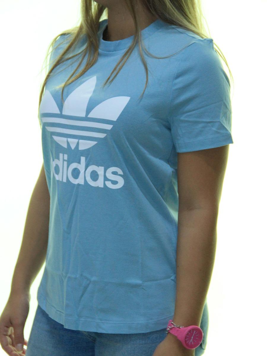 1ca6f2a1916 blusinha feminina adidas trefoil estampada manga curta - azu. Carregando  zoom.