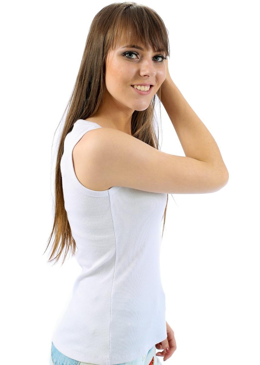 7ae802637c blusinha regata feminina branca decote v com renda justa. Carregando zoom.