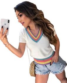 f037fb3a0c Blusinha Tshirt Lançamento De Tricot Modal Feminino Manguinh