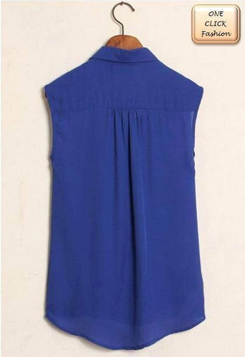 blusita de gasa zara azul con detalle dorado en el cuello