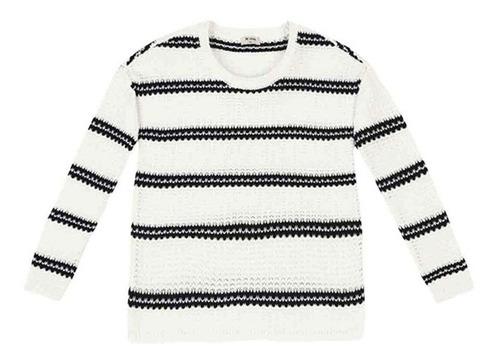 blusão feminino de tricô com listras hering