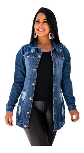 blusão jaqueta jeans feminino max longa rasgado moda inverno