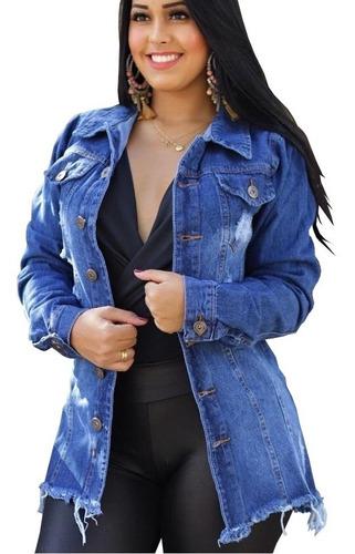 blusão jaqueta jeans feminino max longa rasgado p, m e g