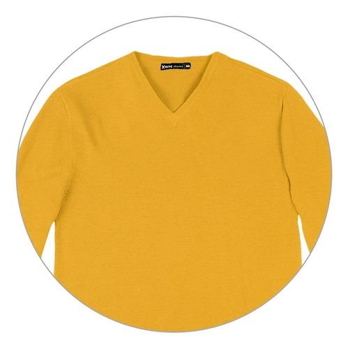 blusão masculino básico hering em tricô e gola v
