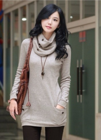 bluson con bufanda moda japonesa asiatica para mujer 0004