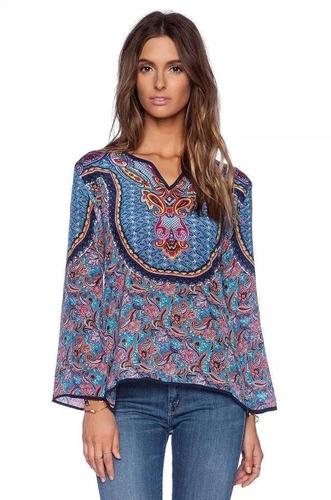 blusón estilo étnico boho azul magenta talla l