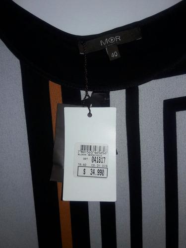 bluson geométrico marca mor talla 40 color blanco negro