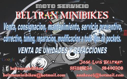 bm b mini motos, mantenimiento, venta de unidades y refacc