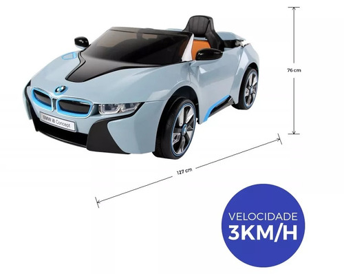 bmw azul carro elétrico infantil 12v controle remoto