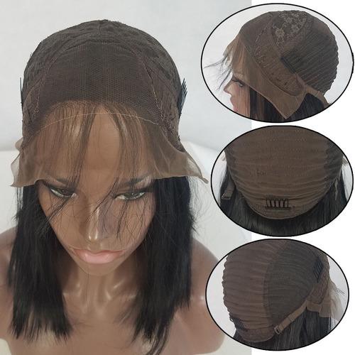 bob corto cortes de pelo natural encaje negro frente peluca