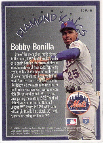 bobby bonilla 94 new york mets diamond king donruss dk-8