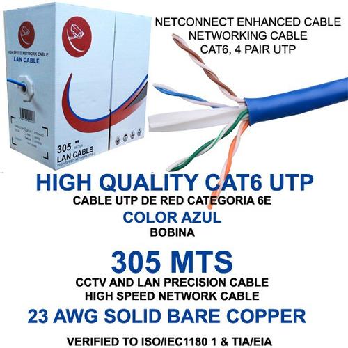 bobina cable utp cat6 305 mts rj45 cctv redes seguridad ml