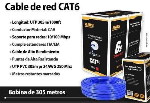 bobina cable utp cat6e 305mts / 1000 fts