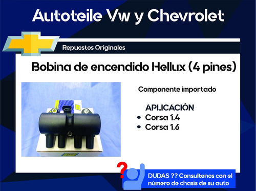 bobina de encendido hellux (4 pines) corsa 1.4 y 1.6