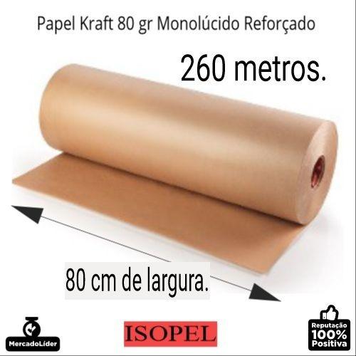 bobina de papel kraft pardo monolúcido 80g x 80 cm x 260 mts