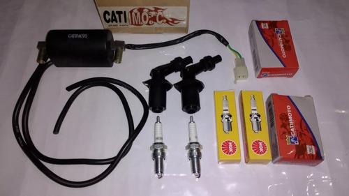 bobina ignição c/ cabos e cachimbo + 2 vela ngk cb 400 450
