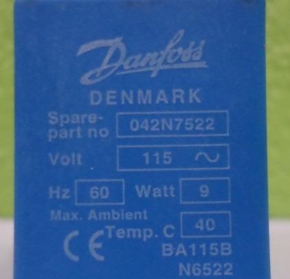 bobina solenoide danfoss 042n7522 115vca 9w - usada