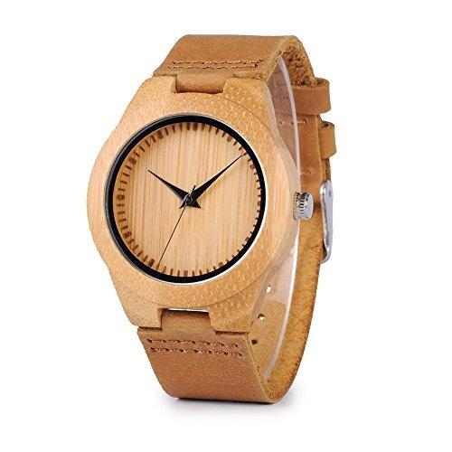 bobo bird reloj de madera de bambú para hombres con correa d