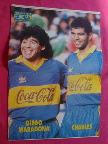 boca un sentimiento n° 107 1992 poster maradona y charles