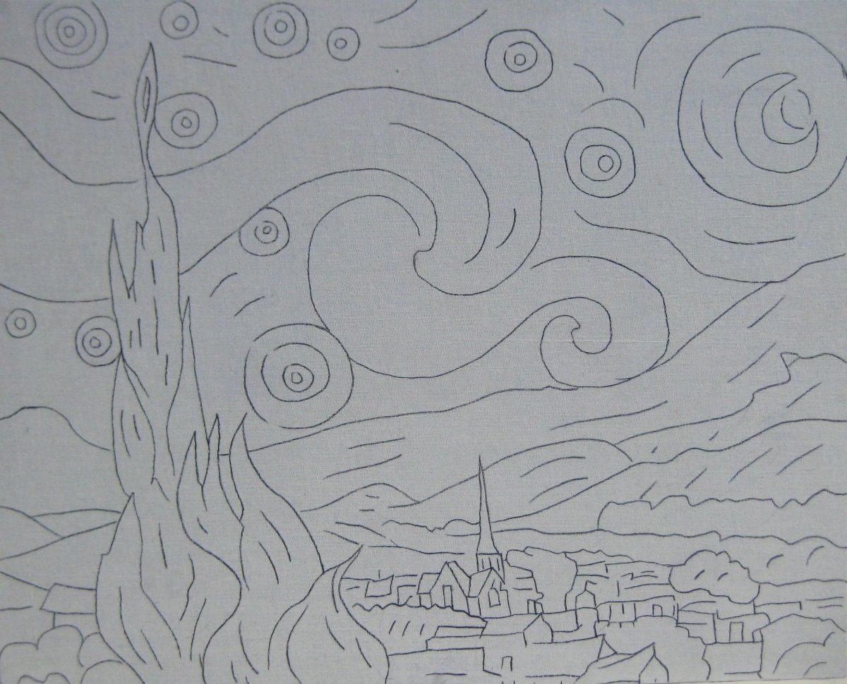 Magnífico Página Para Colorear Noche Estrellada Motivo - Enmarcado ...
