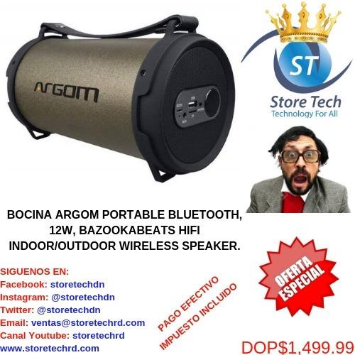 bocina argom portable bluetooth, 12w, bazookabeats hifi indo