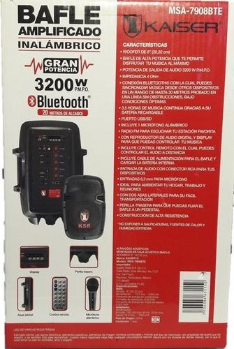 bocina bafle amplificador bluetooth usb kaiser 8 pulg 3200 w